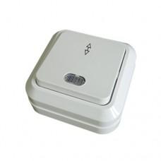Выключатель 1-клавишный, проходной, ОЛИМП, 10А 220в, белый с индикатором О0125